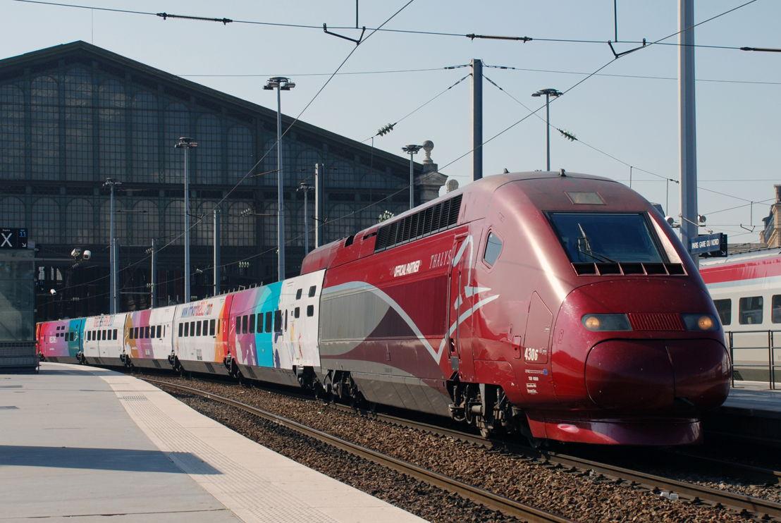 Le train Thalys, habillé pour le Championnat du Monde de Hockey sur Glace.<br/>©CelineJuste