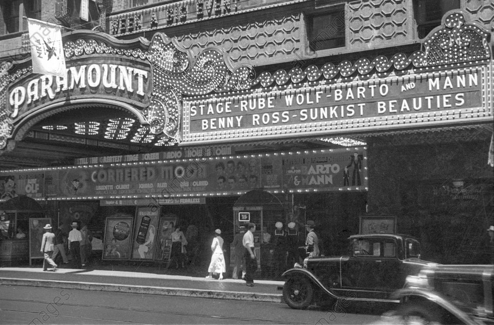 Paramount Theater Marquee, Rube Wolf Orchestra on the bill, Los Angeles, 1933<br/>AKG1013794