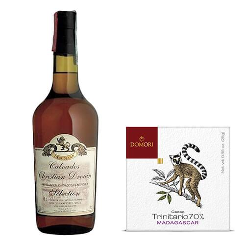 """Cioccolato fondente cacao Trinitario Madagascar & Calvados """"Christian Drouin Sélection"""" - Domaine Cœur de Lion"""