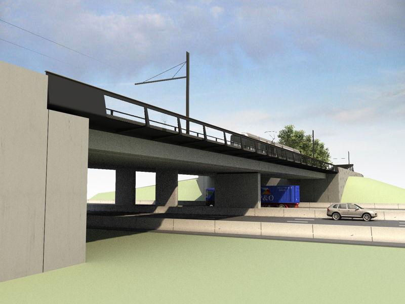 Toekomstbeeld 2 van de trambrug over de E40 in Zwijnaarde.