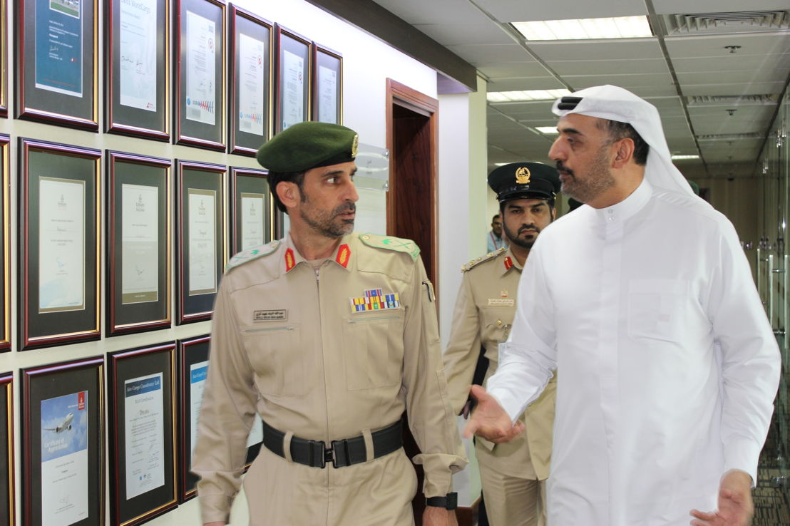 Dr Abdulla Al Hashimi, Divisional Senior Vice President, Emirates Group Security hosts the Commander-in-Chief of Dubai Police