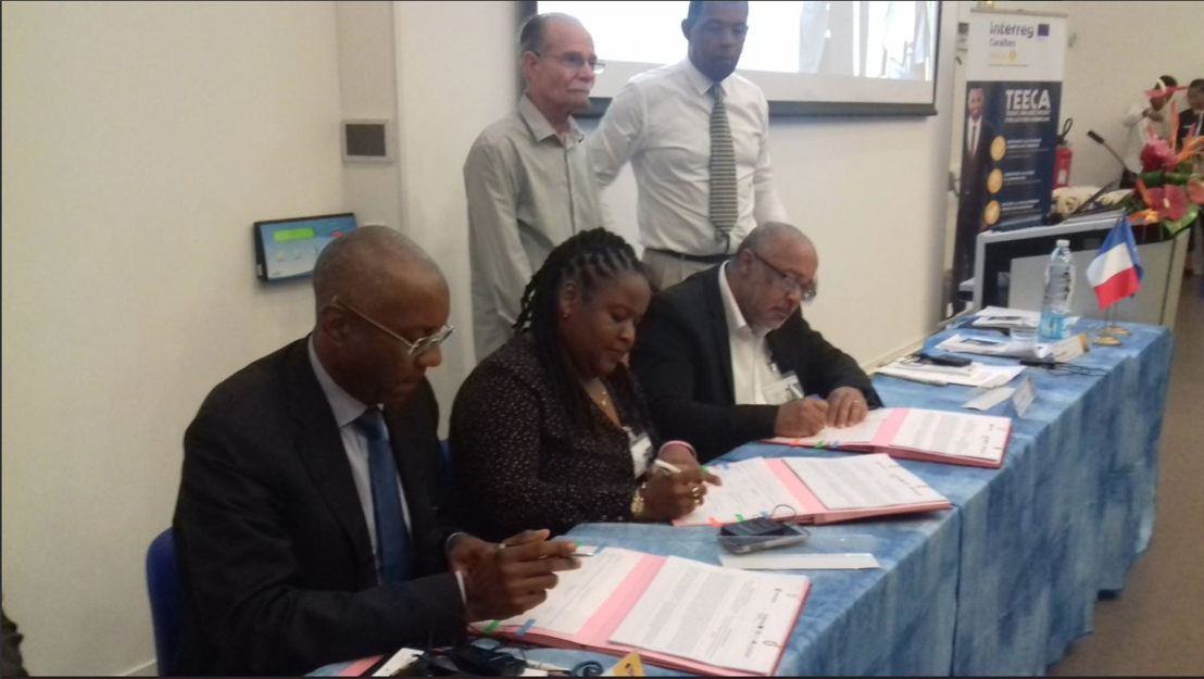 Signing of the partnership agreement for the TEECA Project. © Collectivity of Martinique et ©Collectivity of Martinique