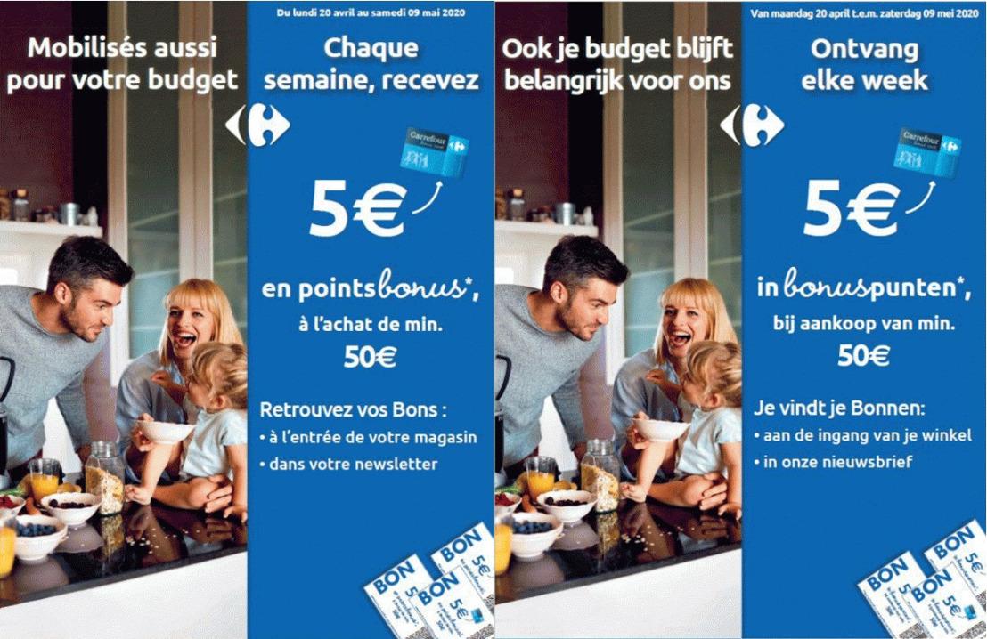 Carrefour België boost de voordelen van haar Bonus Card om huishoudens te helpen in deze crisistijden