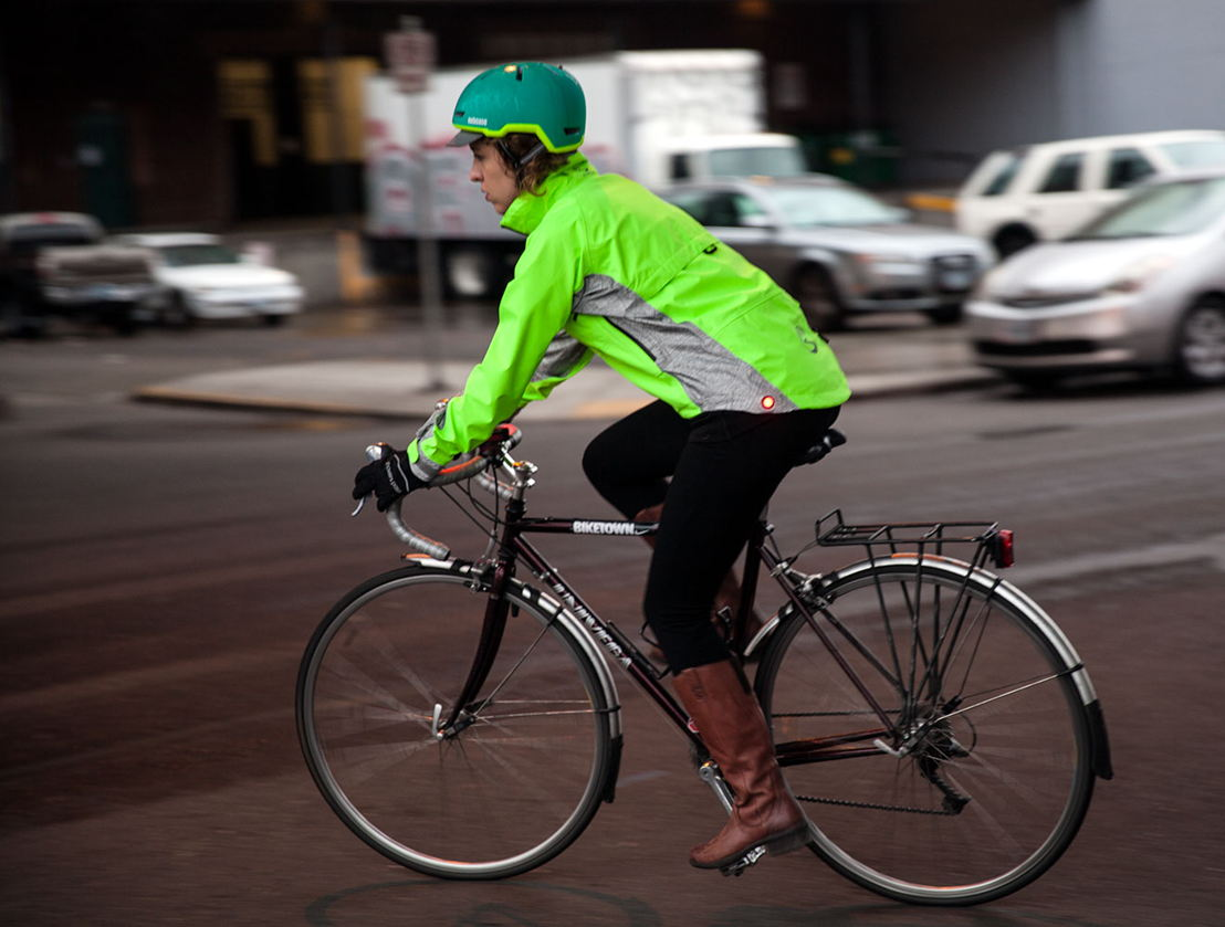 High-visibility waterproof, breathable jacket with lights