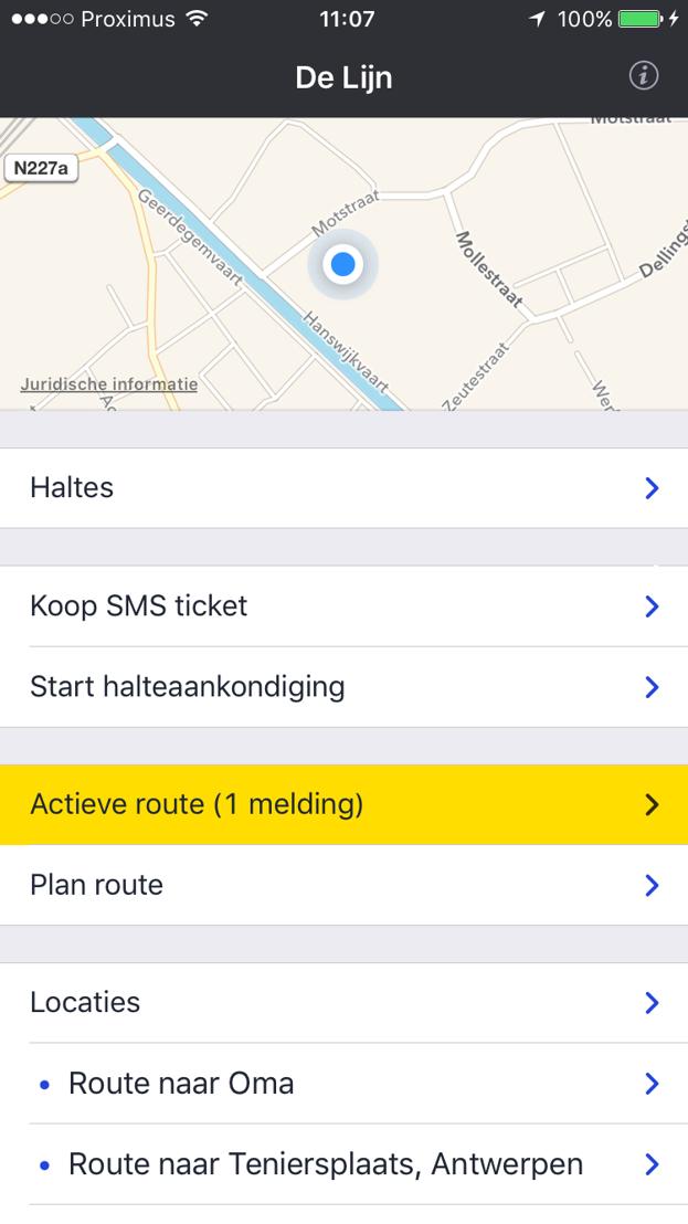 2. Startscherm als je een actieve route hebt geactiveerd. In dit concrete geval is er 1 melding (storing) voor de actieve route.