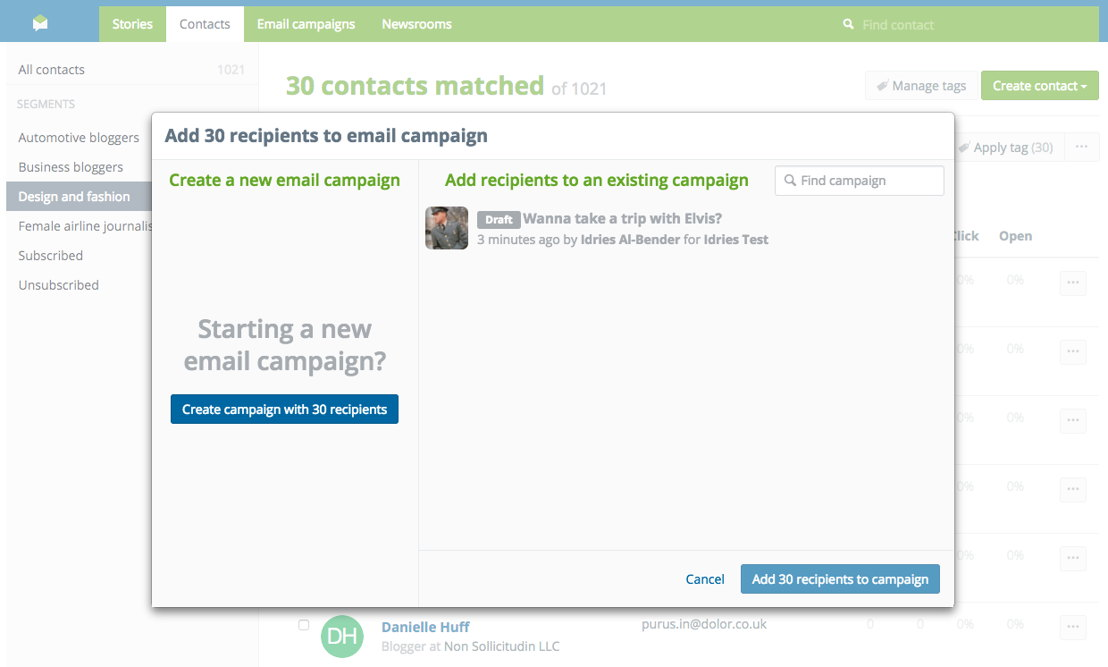2. Create a new campaign or add them to an existing one