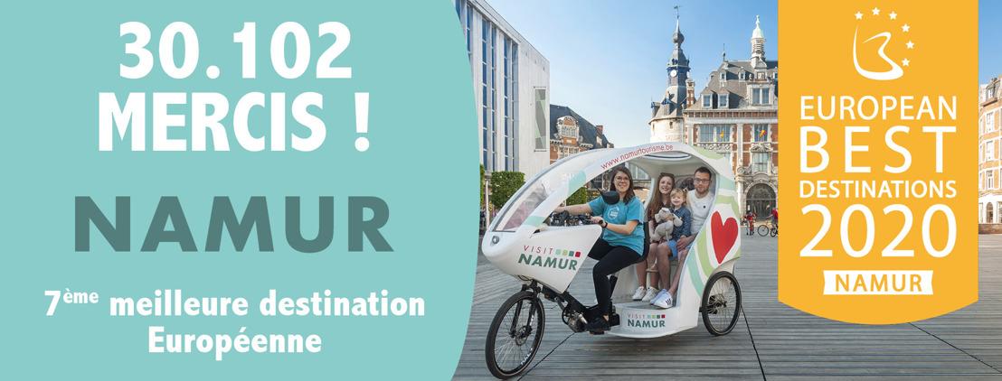 Namur est la 7ème Meilleure Destination Européenne 2020