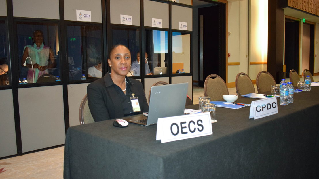 Mrs. Norma Cherry-Fevrier, Programme Officer in the OECS Environmental Sustainability Cluster, at UN-ECLAC Meeting.
