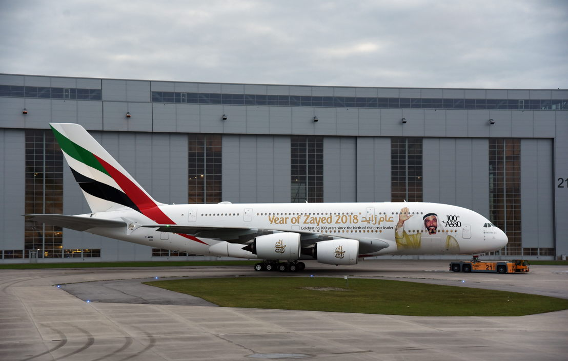 Emirates unveiled a special tribute to the late HH Sheikh Zayed bin Sultan Al Nahyan, the founding father of the United Arab Emirates, with a bespoke livery for its 100th A380 carrying one of his most memorable images.
