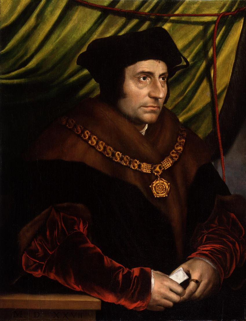 Op zoek naar Utopia: Naar Hans Holbein de Jongere, Portret van Sir Thomas More, 1527. National Portrait Gallery, Londen