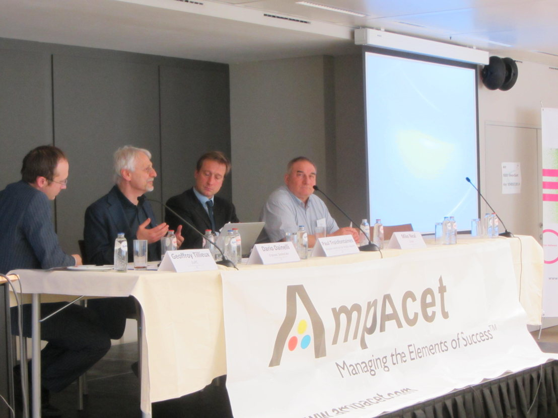 Discussion on risk assessments of food contact materials using practical tools. <br/>From left to right: Geoffroy Tillieux (EuPC), Dario Dainelli (Cryovac Sealed Air), Paul Troisfontaines (Belgian Institute for Public Health), Mike Neal (CPME)