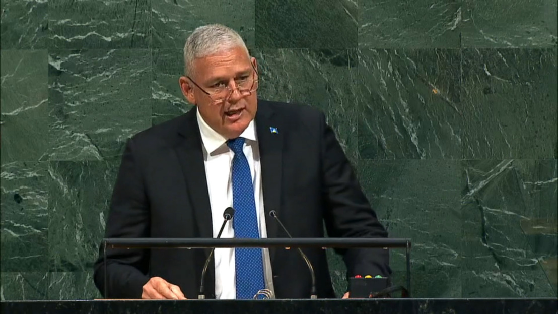 OECS Chairman The Hon. Allen Michael Chastanet, Prime Minister of Saint Lucia, addresses the general debate of the 72nd Session of the General Assembly of the UN