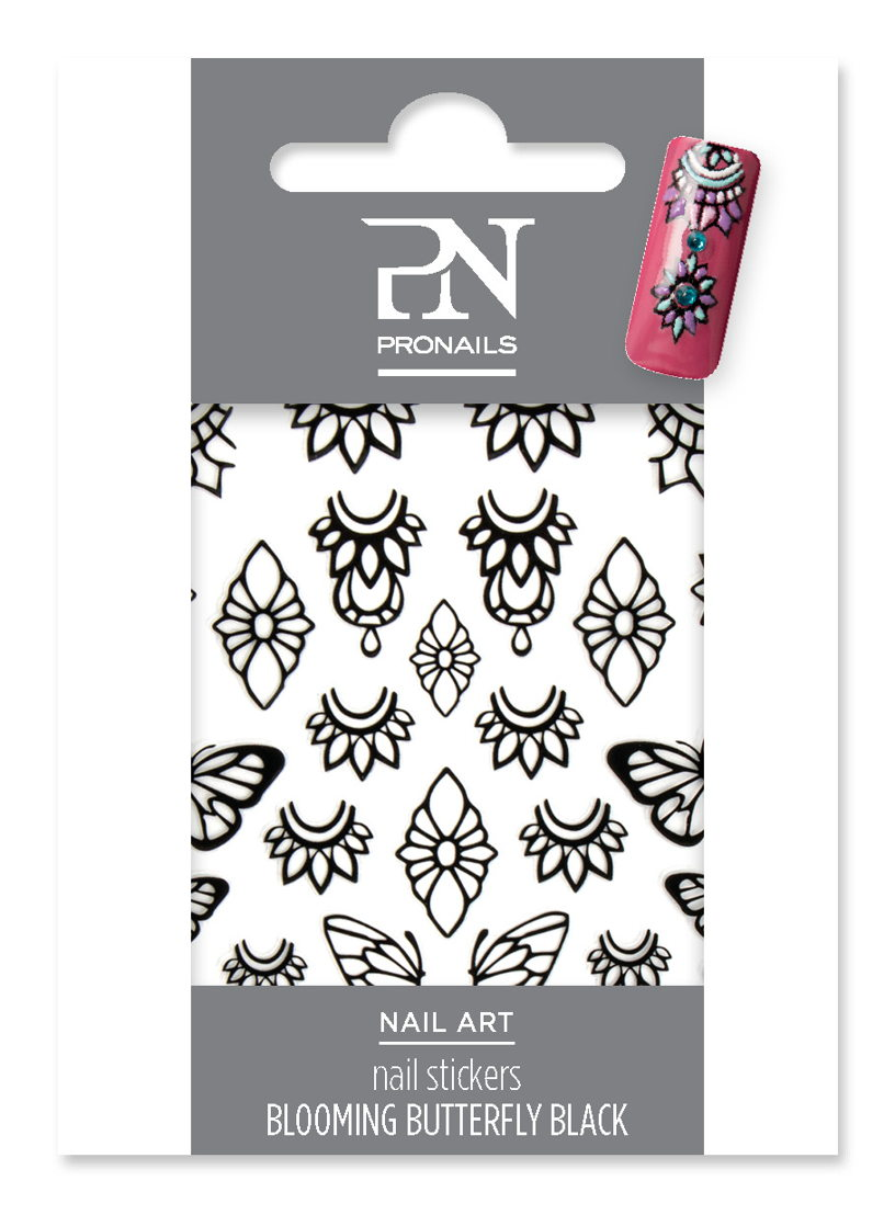 Nail Stickers Blooming Butterfly Black