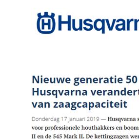 Nieuwe generatie 50 cc-kettingzagen van Husqvarna verandert de normen op het vlak van zaagcapaciteit
