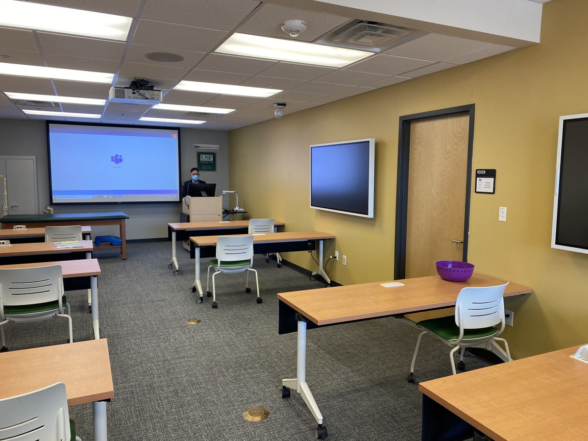 Each of the 96 classrooms in USF's recent integration was outfitted with a Sennheiser TeamConnect Ceiling 2, audience cam and a professor cam (Photo courtesy USF).