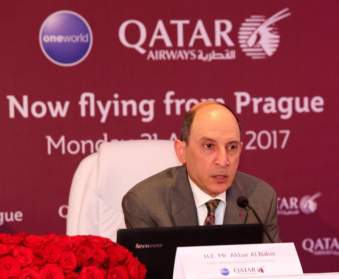Tisková konference - Akbar al-Bákir (generální ředitel Qatar Airways)