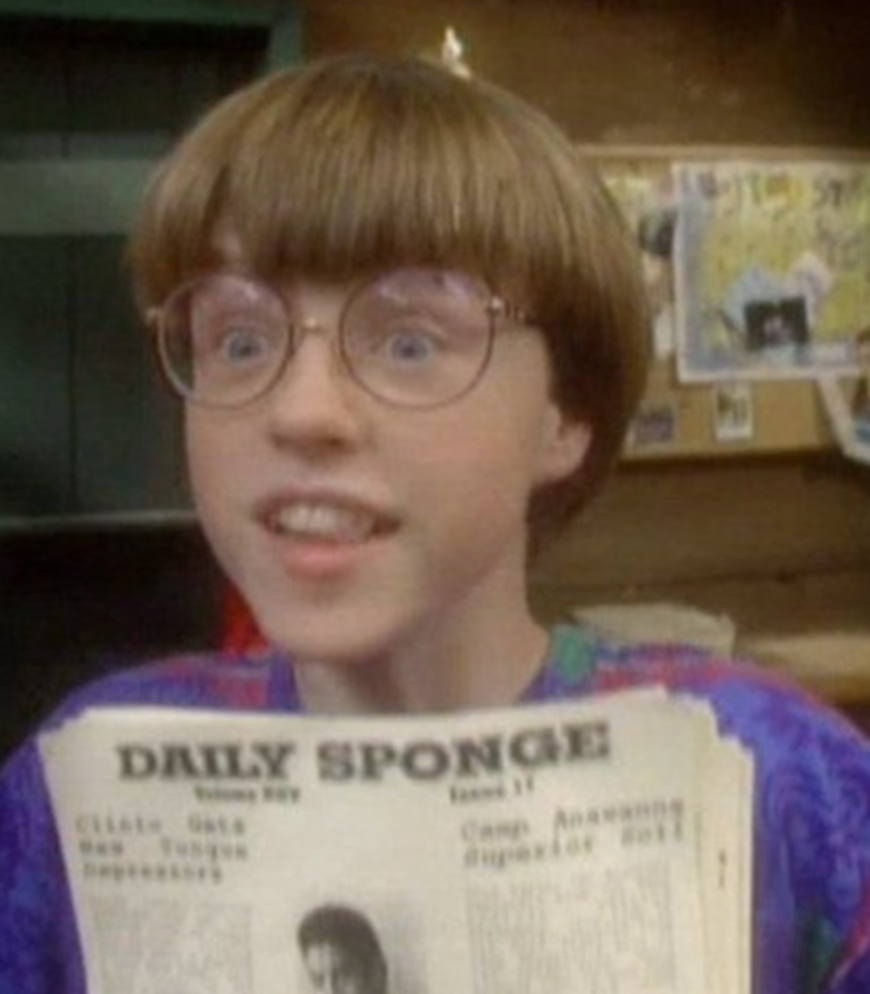"Eyster in his still famous role as ""Sponge"" on ""Salute Your Shorts."""