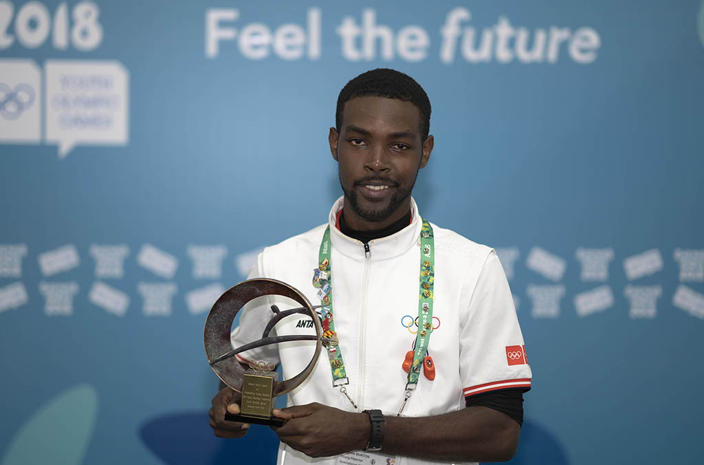 Sharome wins the Steve Parry Award for most outstanding Young Reporter at the 2018 IOC YR Programme in Buenos Aires, named in honour of the late Reuters Sports editor Steve Parry.