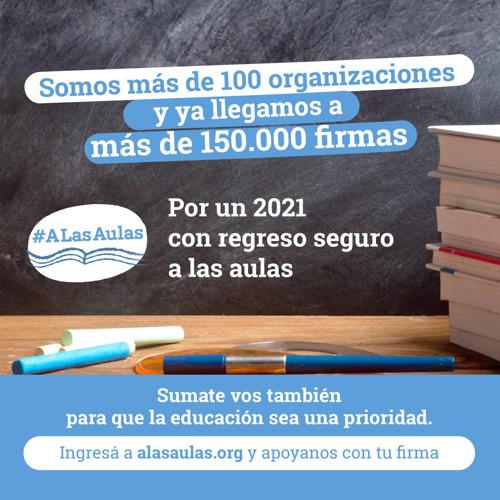#ALasAulas ya reunió más de 150 mil firmas para que la educación sea prioridad en 2021