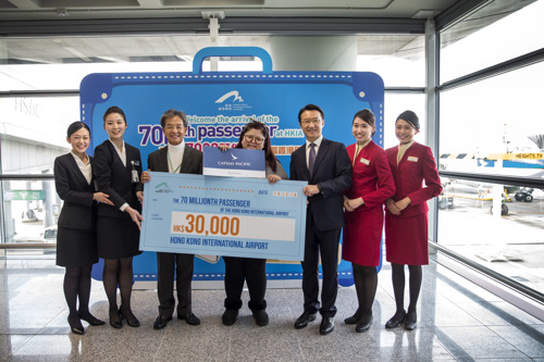 Cathay Pacific congratulates Hong Kong International Airport's 70 millionth passenger of 2016