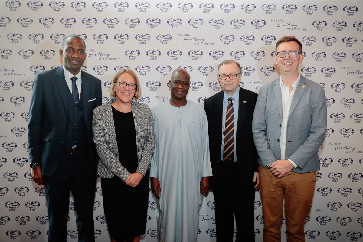 Left to right: Dramane Samoura, the Second Councillor for the Ambassador, Kirstie Randall, Mercy Ships Country Director Senegal, His Excellency Cheikh Ahmadou Dieng, the Senegalese Ambassador, Henry Clarke, Chairman of Mercy Ships UK and Lea Milligan, Executive Director of Mercy Ships UK