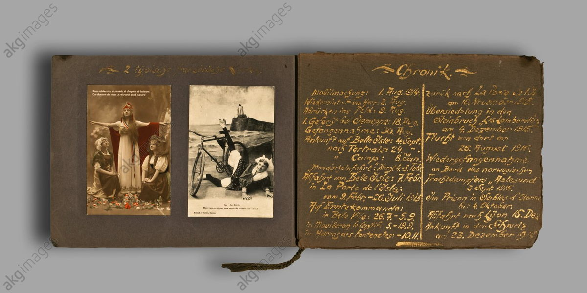 "Photo album with handwritten notes by Albert Fröbe, Berlin. ""2 Typical French Cards / Chronicle"". AKG1780986"
