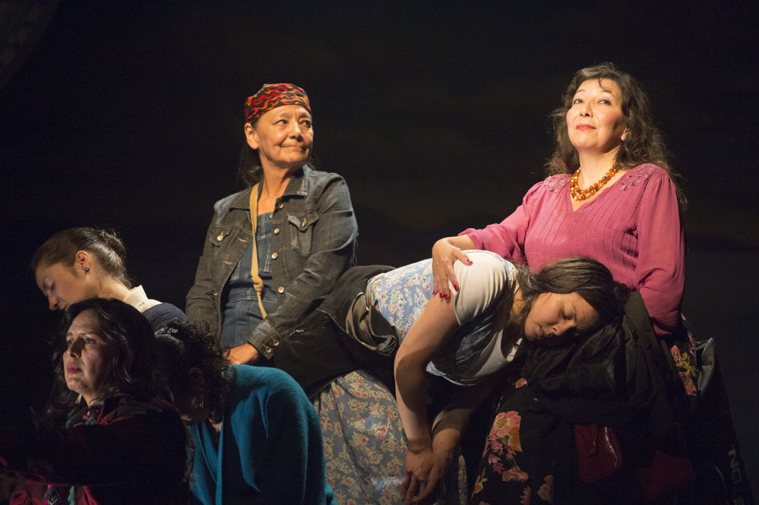 "Left to right - Lisa C. Ravensbergen (as Annie Cook / in front), Cheri Maracle (as Veronique St. Pierre / back head down), Tantoo Cardinal (as Pelajia Patchnose), Tiffany Ayalik (as Zhaboonigan Peterson - head in lap), and Tracey Nepinak (as Philomena Moosetail)  in The Rez Sisters by Tomson Highway / Photos by David Cooper / <a href=""http://www.belfry.bc.ca/the-rez-sisters/"" rel=""nofollow"">www.belfry.bc.ca/the-rez-sisters/</a>"
