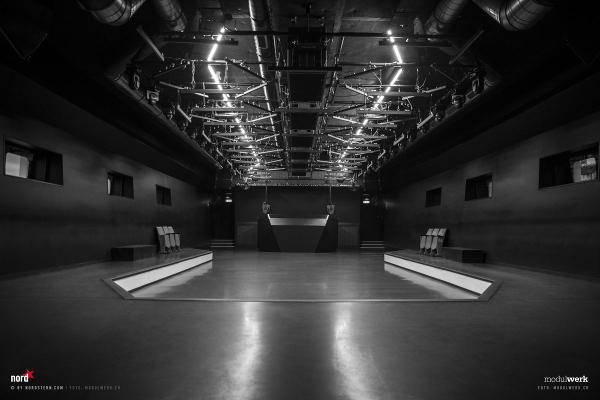 Nordstern's dance-floor and DJ booth. Photo Credit: Modulwerk