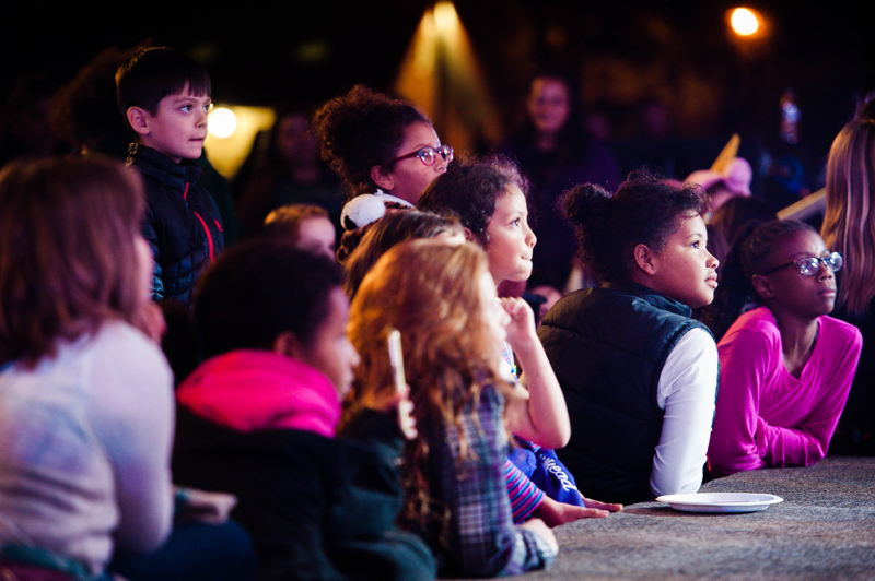 Young fans watch performances at D2B 2017 in Vancouver, WA.