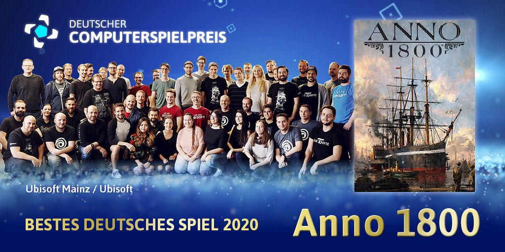 """Das Team von Ubisoft Mainz freut sich über die Auszeichnungen """"Bestes Deutsches Spiel"""" und """"Bestes Game-Design"""" beim Deutschen Computerspielpreis 2020"""