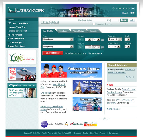 Cathay Pacific Unveils All-New Web Site With Greater Customer Focus