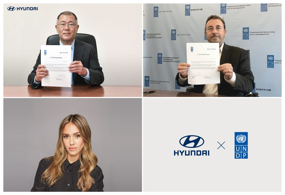(En el sentido de las agujas del reloj): El Vicepresidente Ejecutivo de Hyundai Motor Group, Euisun Chung; el Administrador del PNUD, Achim Steiner; y la actriz, activista y emprendedora de impacto social Jessica Alba