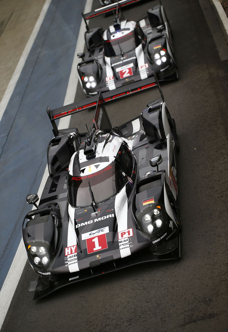 Porsche 919 Hybrid, Porsche Team No. 1: Timo Bernhard, Brendon Hartley, Mark Webber; Porsche Team No. 2: Romain Dumas, Neel Jani, Marc Lieb
