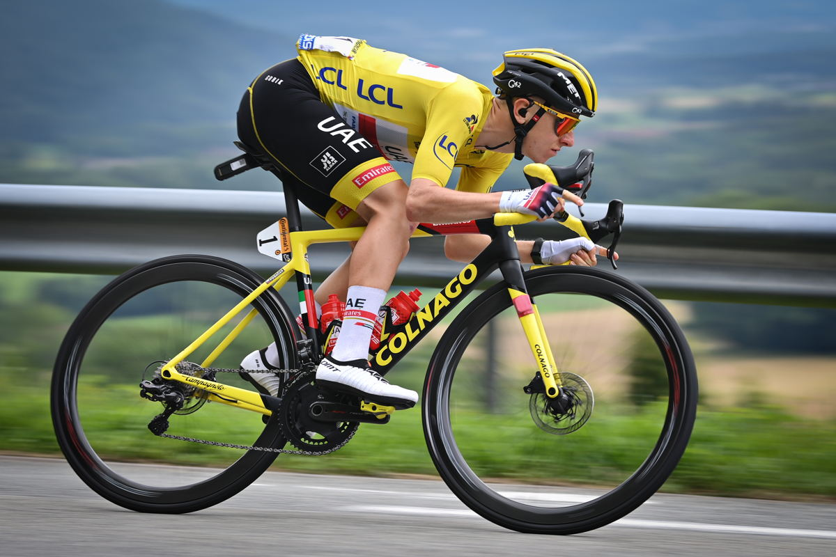 Slovenian Tadej Pogacar of UAE Team Emirates wearing the yellow jersey pictured in action during stage 10 of the 108th edition of the Tour de France cycling race, 190,7 km from Albertville to Valence, France, Tuesday 06 July 2021 (© BelgaImage-David Stockman)