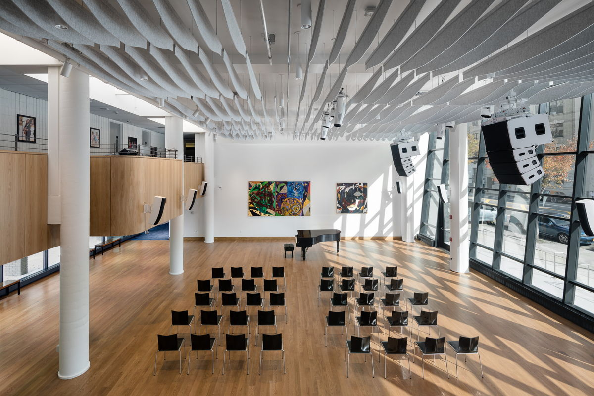 Accommodating the large space and glass wall required the design team to analyze all the contingencies to ensure that it would beeasily adaptable as both a gallery and a multi-configurable performance space. - Photo by Amy Barkow