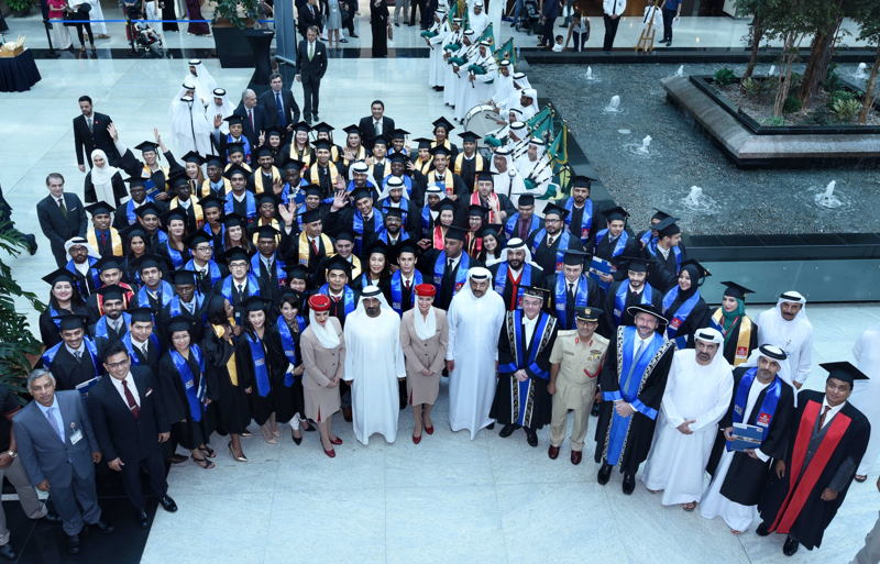 His Highness Sheikh Ahmed Bin Saeed Al Maktoum, Chairman and Chief Executive Emirates airline and Group with delegates and the graduating class of 2017