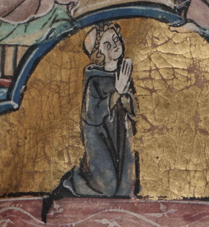 Brussel, Koninklijke Bibliotheek van België, ms. 15001, folio 1r (detail uit een miniatuur)<br/>Portret van de auteur: Jacob van Maerlant<br/>@ Koninklijke Bibliotheek van België