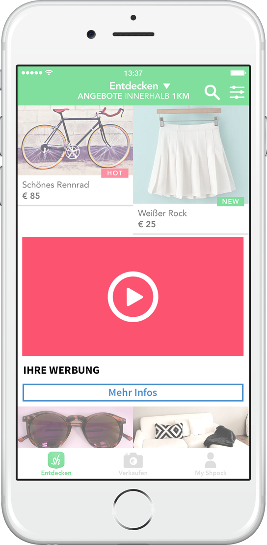 Native Video Ad bei Shpock (Bildcredit: (c) Shpock - Abdruck honorarfrei)