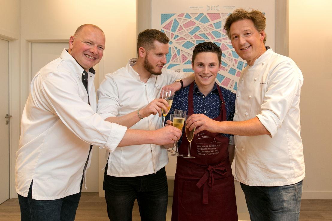 Op de foto van links naar rechts: Raphaël Giot, Yann Couvreur, de winnaar Eliaz Prenveille en Pierre Marcolini © Patrick Lazic