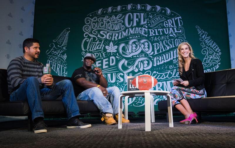 #MarksCFLWeek Live. L>R: Anthony Calvillo, Kelvin Anderson, and Brodie Lawson. Photo credit: Johany Jutras/CFL