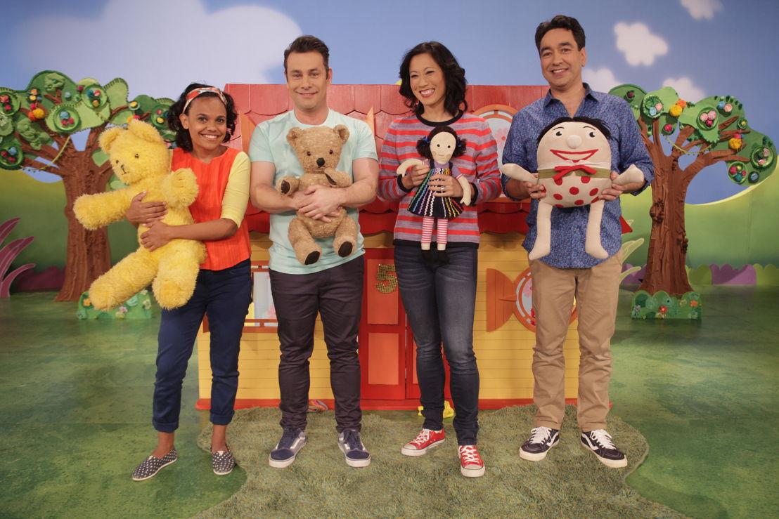 ABC KIDS' Play School presenters Miranda Tapsell, Teo Gebert, Karen Pang and Alex Papps