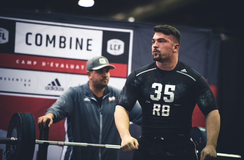 Anthony Gosselin competing in the Bench Press at the CFL Combine presented by adidas. Photo credit: Johany Jutras/CFL