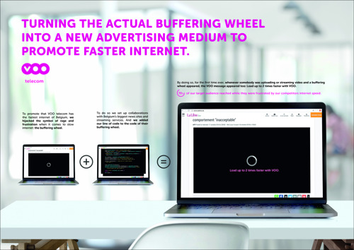 TO CLAIM FAST INTERNET FOR ALL, VOO TELECOM TURNS THE INFAMOUS BUFFERING WHEEL INTO A NEW MEDIUM.