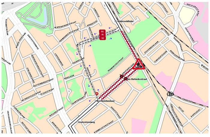 Fruithoflaan in Berchem krijgt tijdelijke bushalte tijdens werken