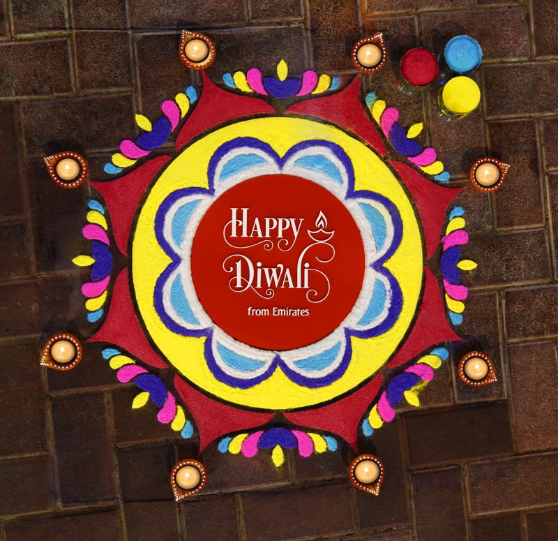The crew members also helped create a traditional Rangoli to celebrate the festival of lights.