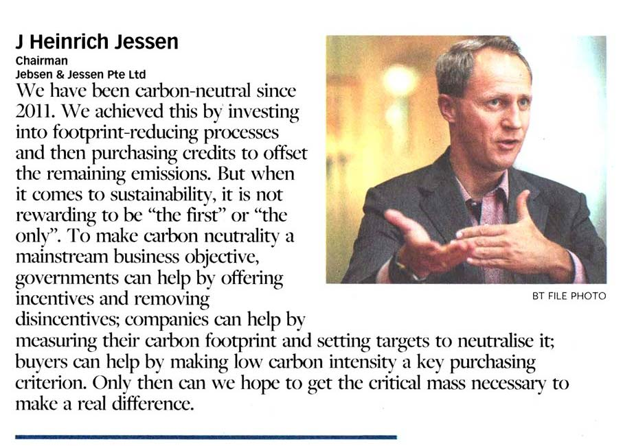 In an interview with The Business Times, Chairman J Heinrich Jessen shared how the Group reduced its carbon footprint and helps mitigate climate change.