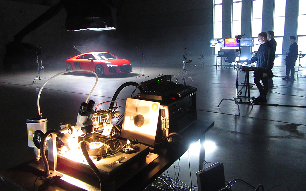 The Audi engine and the track are being recorded directly to vinyl.
