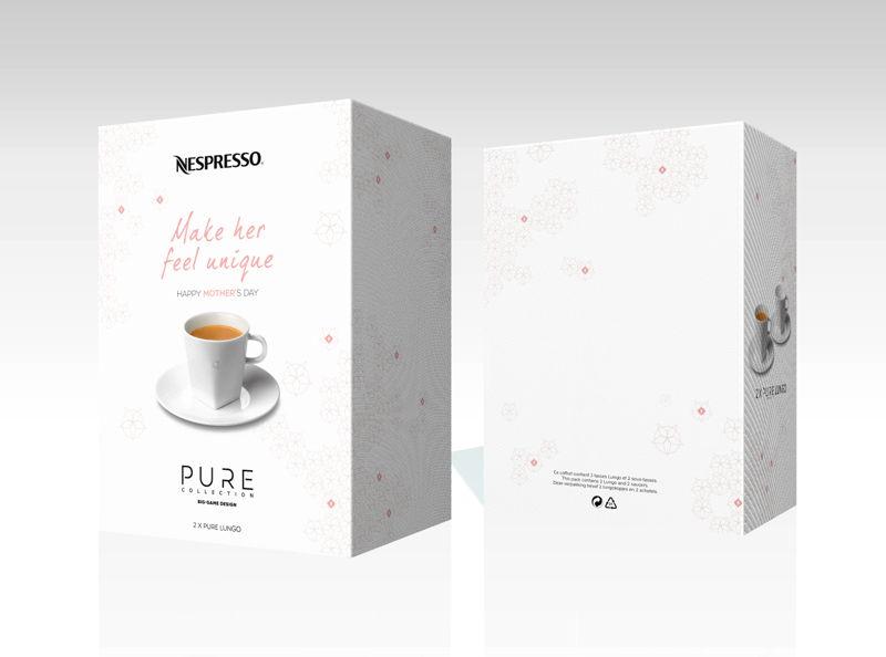 """Nespresso -- """"Make her feel unique"""" -- Pure Collection: €24 (set van 2 Lungo tassen en onderzetbordjes)"""