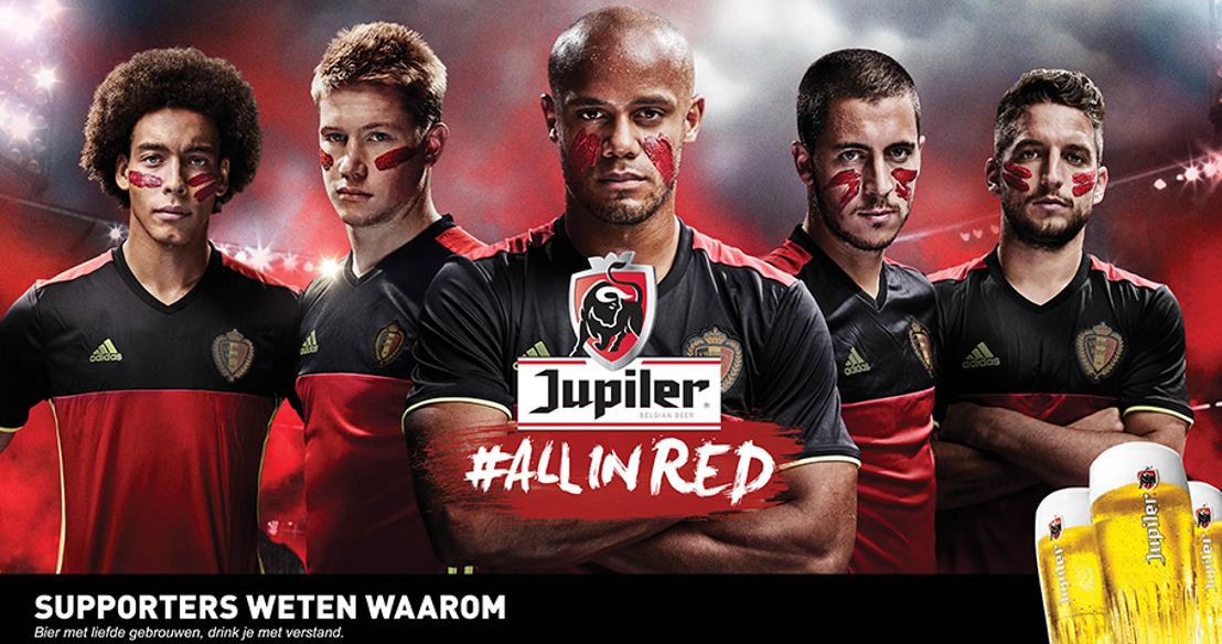 Jupiler #ALLINRED campagne kleurt het land rood om iedereen te verenigen achter de Rode Duivels