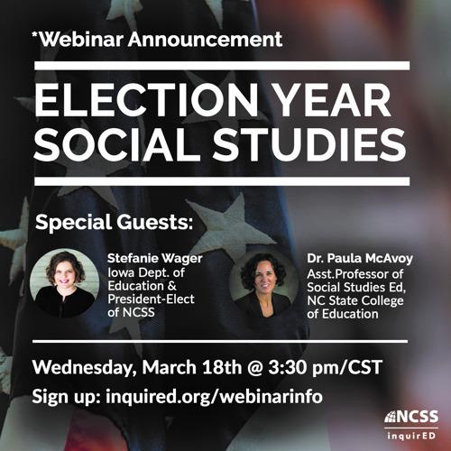 Media Advisory - Election Year Social Studies Webinar on March 18
